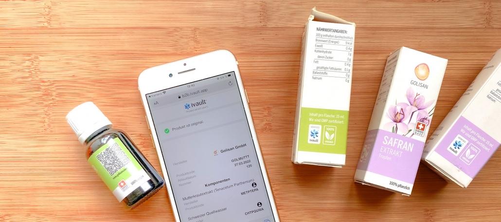 Supply Chain Fälschungssicherheit bei Golisan:Die Nahrungsergänzungsmittel von Golisan haben nun das ivault verifiedLabel auf der Produktverpackung und je einen eigenen QR-Code auf der Etikette.