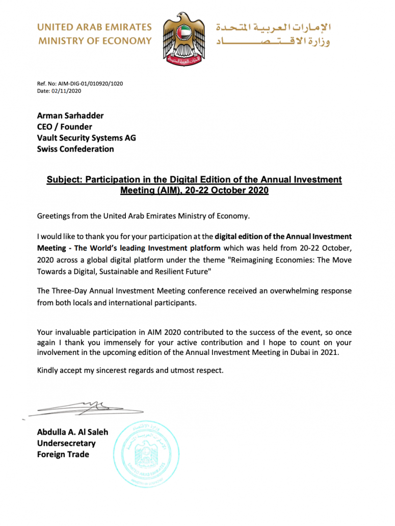 Annual Investment Meeting Thank You Letter for Speaker Arman Sarhaddar