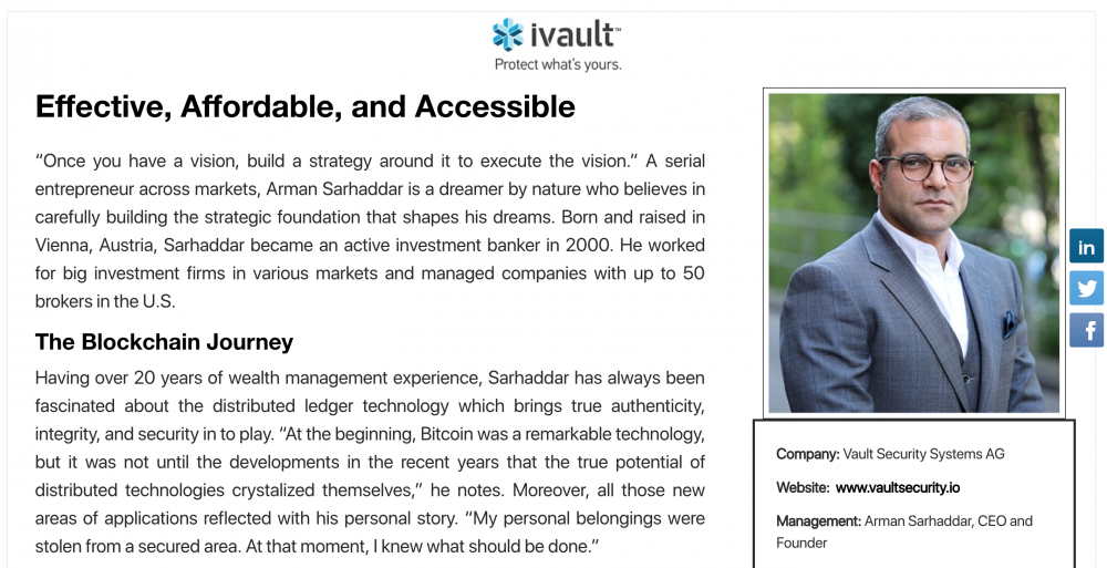 Technology innovators about ivault, one of the world's best anti-counterfeiting solutions based on blockchain technology (according to CIO Bulletin and CIO Applications from Silicon Valley)