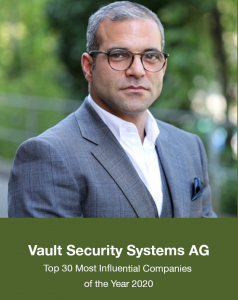 Vault Security Systems AG, Top 30 Most Influential Companies in 2020, providing Blockchain Technology Solutions
